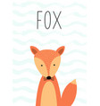 cartoon cute fox poster card vector image vector image