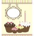 Celebration card with three muffins vector image vector image