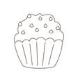 chocolate cupcake dessert isolated icon white vector image
