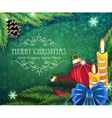 Christmas baubles with candles and fir branches vector image vector image