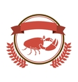 circular border with crown branch with crab and vector image vector image
