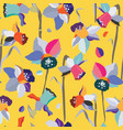 colorful daffodils stylized seamless pattern vector image vector image