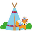 colorful fox animal with camp design and bushes vector image vector image
