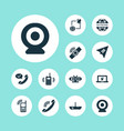 communication icons set with walkie-talkie mobile vector image