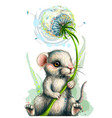 cute little mouse holds a dandelion flower vector image