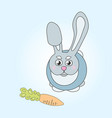 cute rabbit with carrot on blue background vector image vector image