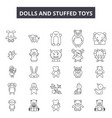 dolls and stuffed toys line icons signs vector image