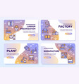 factory color line icon set labor and engineering vector image vector image