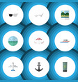 flat icon beach set of spectacles ship hook vector image vector image