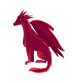 flat red colored dragon with wings horns vector image