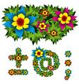 flowers alphabet 15 vector image vector image
