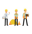 foreman or architect in yellow hard hat holding vector image vector image