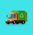 garbage truck trash sorting recycling vector image