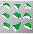 green christmas hats realistic vector image