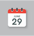 icon calendar day 29 june summer days year vector image vector image