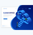 isometric cloud office with people concept web vector image vector image
