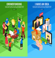 isometric crowdfunding vertical banners vector image vector image