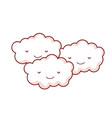 kawaii happy nature fluffy clouds together vector image