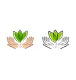 leaf in hands logo natural organic label vector image