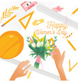march 8 bouquet with tulips and women s hands vector image vector image