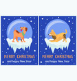 merry christmas and happy new year 2018 symbols vector image vector image