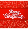 Merry Christmas White 3d lettering on red vector image vector image