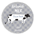Milk label with cow and frame - template for vector image