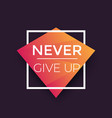 never give up poster with motivational quote vector image vector image