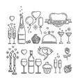 romantic dinner line icons set vector image
