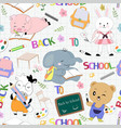 seamless pattern cute animal student back to vector image