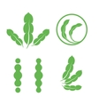 set green isolated leaves logos plant elements vector image