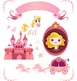 Set of pink princess tale vector image