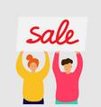 smiling girl and boy stand and hold sale banner vector image vector image