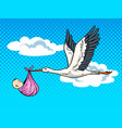 stork brings baby pop art vector image