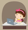 thinking child students girl thinking with laptop vector image