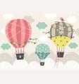 three beautiful hot air balloon fly in sky vector image vector image