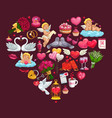 valentines day heart cupids wedding rings gifts vector image vector image
