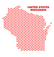 wisconsin state map - mosaic of lovely hearts vector image vector image
