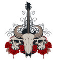 with guitar skulls roses and blood vector image vector image
