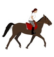 woman riding horse vector image vector image