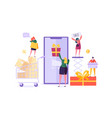 woman shop online using smartphone consumerism vector image vector image