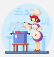 woman smiling and happy chef cook in the kitchen vector image