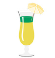 Yellow and green cocktail with umbrella vector image vector image
