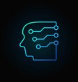 head with a brain as circuit board blue vector image