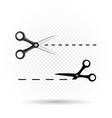 scissors line cut template vector image