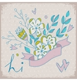Cute greeting card with bunch of flower and ribbon vector image