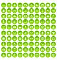 100 active life icons set green circle vector image vector image