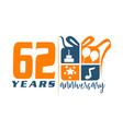 62 year gift box ribbon anniversary vector image vector image