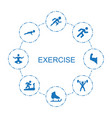 8 exercise icons vector image vector image