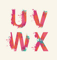 abstract alphabet letters u v w x with color blots vector image